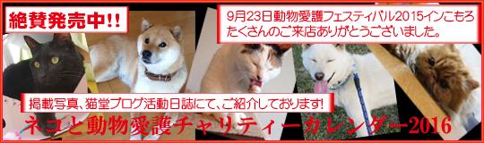 ネコと動物愛護チャリティーカレンダー2016バナー