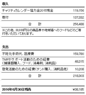 2016.01~06月、収支報告