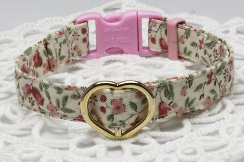 手作り首輪 小花柄ピンク