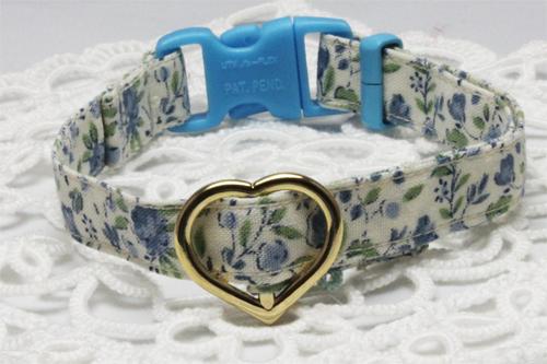 手作り首輪 小花柄ブルー