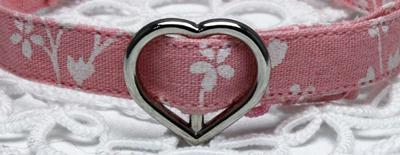 手作り首輪 花柄ピンク