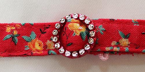 手作り首輪 花柄レッド