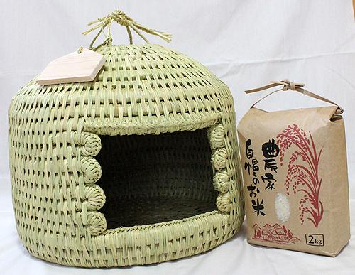 猫つぐら(猫ちぐら)安曇野産コシヒカリお米2kg付き