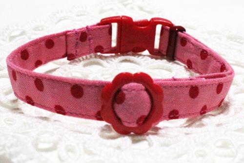 手作り首輪 ドット柄ピンク(レッド)