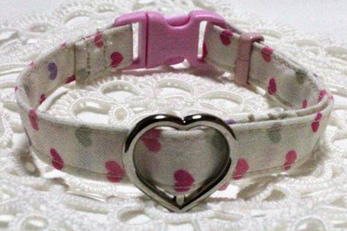 手作り首輪 ハート柄ピンク