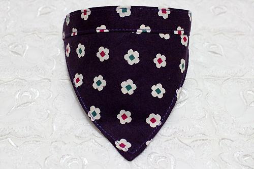 おしゃれバンダナ首輪 和風花柄 紫