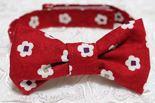 おしゃれリボン首輪 和風花柄 赤