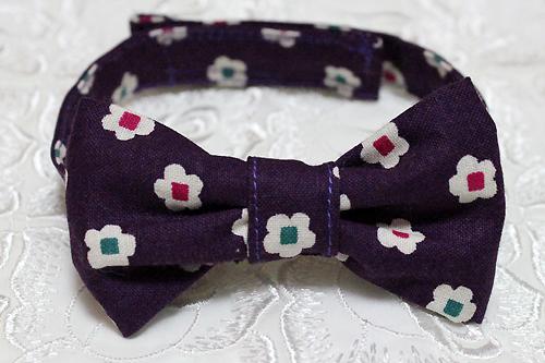 おしゃれリボン首輪 和風花柄 紫