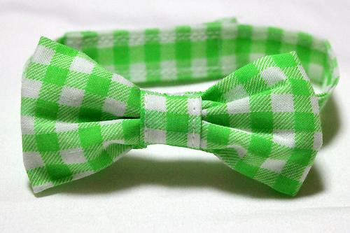 おしゃれリボン首輪 チェック柄ネオンカラーグリーン