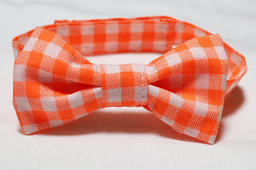 おしゃれリボン首輪 チェック柄ネオンカラーオレンジ