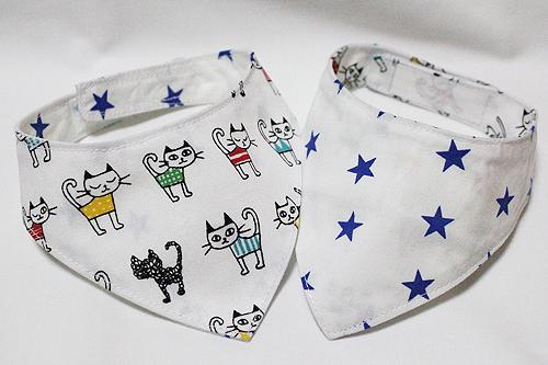 おしゃれ首輪2リバーシブルバンダナ ホワイト猫柄×星