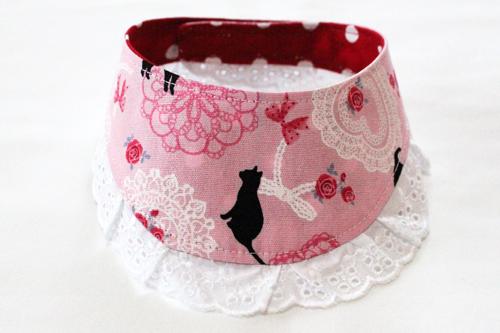 おしゃれ首輪2リバーシブルバンダナフリフリレース ピンク猫柄×ドットレッド2