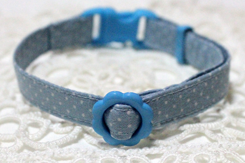 手作り首輪、小さなドット柄ブルー
