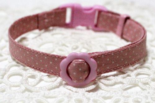 手作り首輪、小さなドット柄ピンク