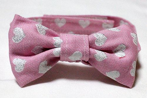 ■おしゃれリボン首輪 キラキラハート柄ピンク