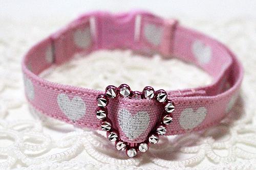 手作り首輪 キラキラハート柄ピンク