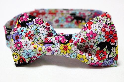 おしゃれリボン首輪 花園の猫ピンク