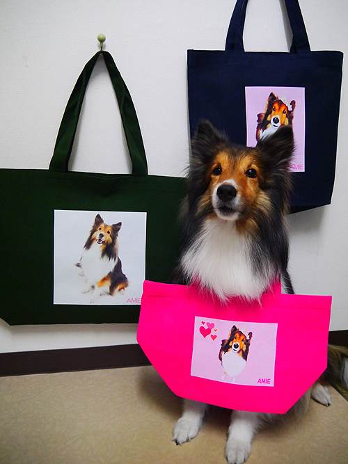 オリジナル写真プリント、キャンバスバッグ犬のAMIEちゃん