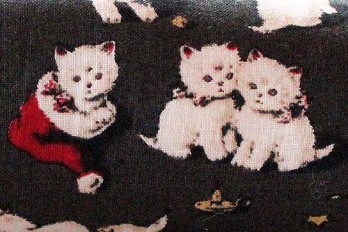 手作りキッカー クリスマス猫アンティークグレー2