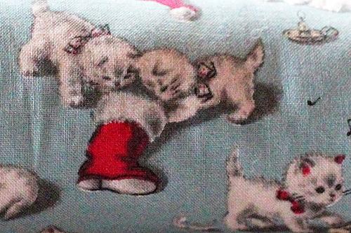 手作りキッカー クリスマス猫アンティークブルー2