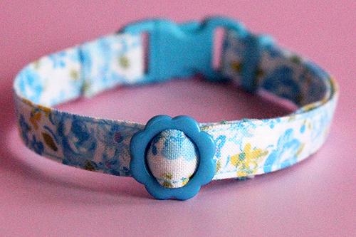 猫の手作り首輪 花柄ローズブルー