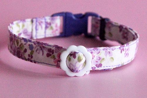 猫の手作り首輪 花柄ローズラベンダー