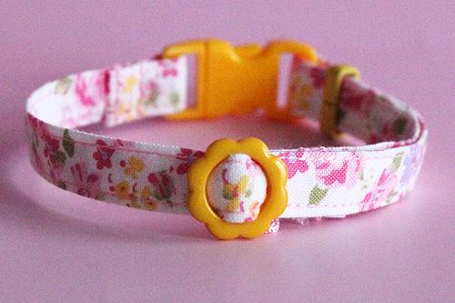 猫の手作り首輪 花柄ローズピンク