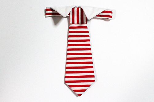 猫のおしゃれネクタイ、ストライプレッド