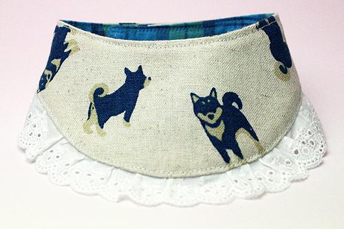 おしゃれ首輪2リバーシブルバンダナフリフリレース 犬柄×チェック(ブルー)1