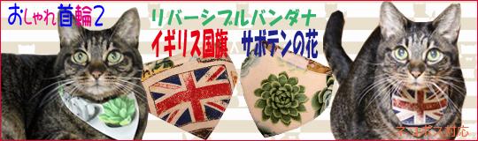 おしゃれ首輪2リバーシブルバンダナ イギリス国旗×サボテンの花バナー