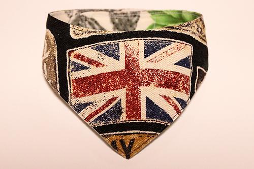 おしゃれ首輪2リバーシブルバンダナ イギリス国旗×サボテンの花A-1