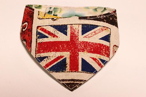 おしゃれ首輪2リバーシブルバンダナ イギリス国旗×サボテンの花B-1