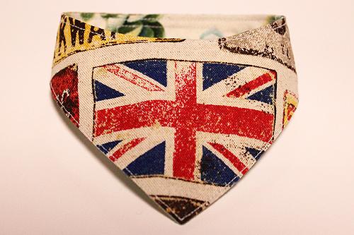 おしゃれ首輪2リバーシブルバンダナ イギリス国旗×サボテンの花C-1