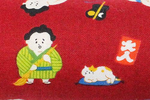 またたび入り手作りキッカー 猫とお相撲さんレッド柄拡大