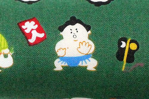 またたび入り手作りキッカー 猫とお相撲さんグリーン柄拡大