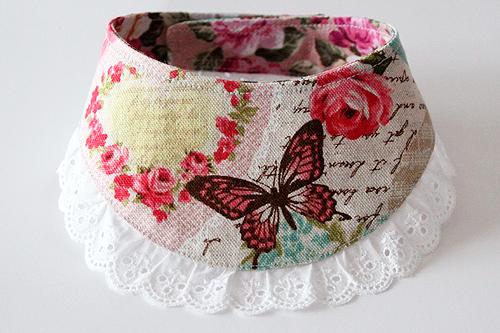 おしゃれ首輪2リバーシブルバンダナフリフリレース 蝶とバラA-01