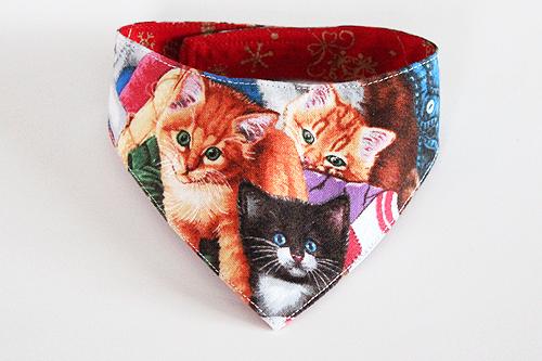 猫のおしゃれ首輪2、リバーシブルバンダナCat&Xmas1