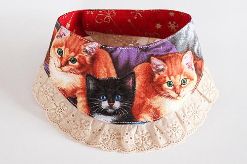 猫のおしゃれ首輪、リバーシブルバンダナフリフリレースCat&Xmas1