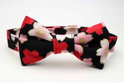 猫用おしゃれリボン首輪 桜さくら黒