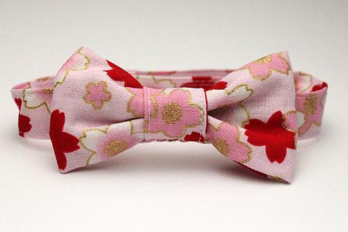 猫用おしゃれリボン首輪、桜さくらピンク