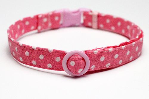 手作り首輪 ドット柄(長さ35cm)、ピンク