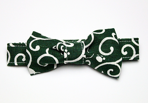 おしゃれリボン首輪「猫と唐草」緑