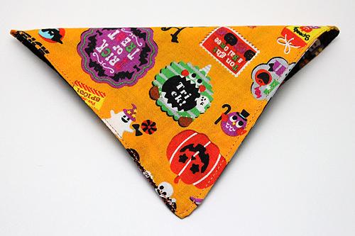 猫の首輪用、付け替えバンダナハロウィンシール柄オレンジ