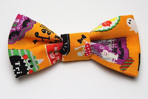 猫の首輪用、付け替えリボンハロウィンシール柄オレンジ