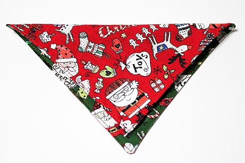 猫の首輪用、付け替えバンダナ クリスマス柄レッド