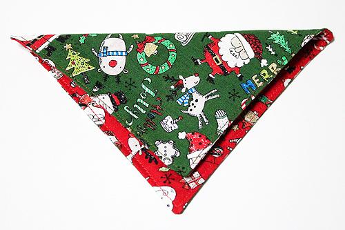 猫の首輪用、付け替えバンダナ クリスマス柄グリーン