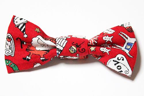 猫の首輪用、付け替えリボン クリスマス柄レッド