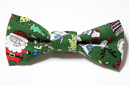 猫の首輪用、付け替えリボン クリスマス柄グリーン