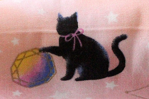 またたび入り手作りキッカー、黒猫と星座ピンク柄拡大1