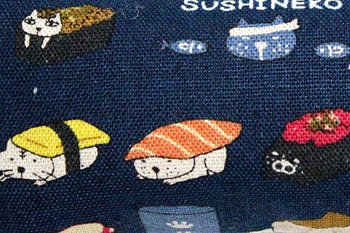 またたび入り手作りキッカー寿司猫ネイビー、柄拡大